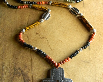Southwestern Santa Fe Jewelry Necklace Cross Pendant Red Rustic Pewter