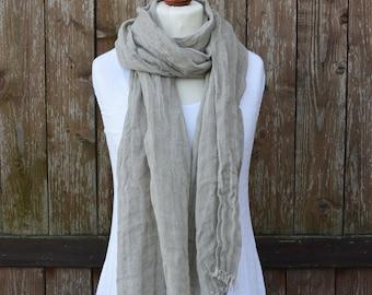 Grey Linen Scarf | Organic Linen Scarf | Natural Linen Scarf | Long Linen Scarf | Unisex Scarf  | Spring Fashion Scarf
