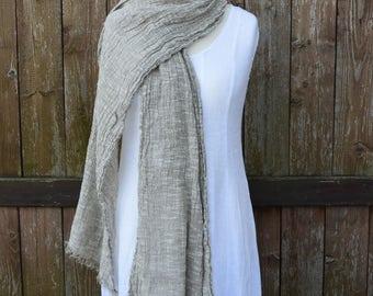 Natural linen cotton scarf, spring scarf, linen scarf, summer linen, women scarf, mens linen scarves