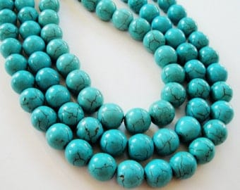 "Turquoise Blue Beads - Howlite Gemstone - Smooth Round Ball Beads- Center Drilled - 10mm - 16"" Strand - Dark Matrix - DIY Bulk Jewelry Beads"