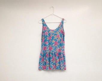 ON SALE Vintage 1980s Neon Floral Dropwaist Mini Dress Tunic