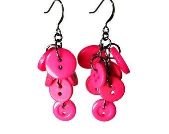 Upcycled Earrings,  Hot Pink  Earrings,  Button Jewelry, Upcycled Jewelry, Dangle