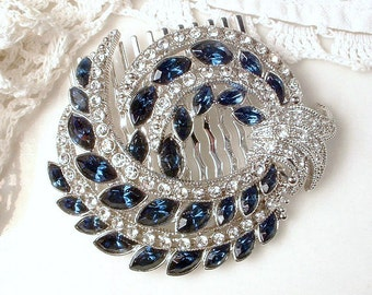 Vintage Sapphire Bridal Hair Comb 1920s Art Deco Navy Blue Rhinestone Silver Pave Crystal Brooch to Hairpiece Great GATSBY Wedding Accessory