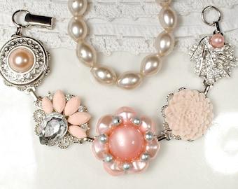OOAK Vintage Blush Pink, Peach & Champagne Bridal Bracelet, Pearl Rhinestone Silver Wedding Earring Bracelet Bridesmaid Gift Shabby Romantic