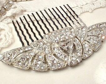 Antique Art Deco Bridal Hair Comb 1920 Hairpiece Crystal Rhinestone Fan Downton Flapper Vintage Wedding Accessory Gatsby Headpiece Edwardian