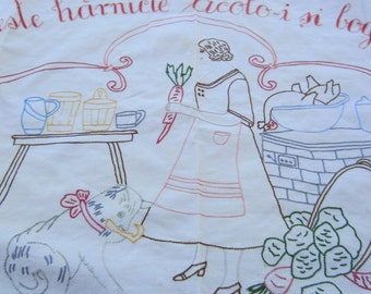 Vintage Hand Embroidered Rectangle Table Runner Table Cloth Kitchen Decor Romanian
