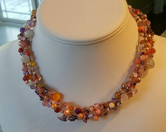 Long Pink Multicolored Mix Beaded Necklace - Cyberlily