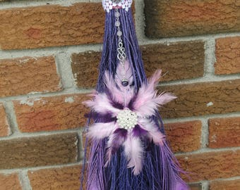 Luscious Lavender Peacock Broom, Witch's Altar Besom, Witchcraft, Wiccan Broom, Besom Broom, Celtic Goddess, Lavender Broom, Pagan Altar