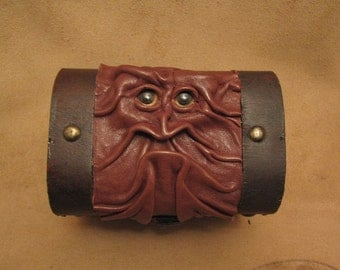 "Grichels leather and wooden chest trinket box - ""Shilego"" 29464 - chocolate brown with rosy gold fish  eyes"