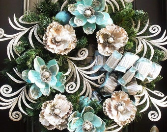 Aqua Christmas Wreath, XL Wreaths For Christmas, Elegant Christmas Wreath, Platinum Peonie and Aqua Blue Magnolia Holiday Wreath