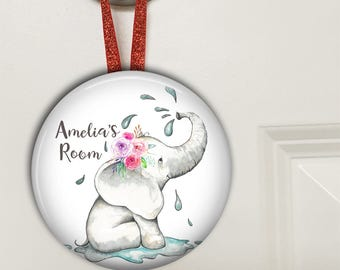 Personalized door hangers - door knob hangers - personalized nursery decor - elephant baby shower gift - elephant decor - HAN-PERS-9