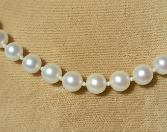 """14k White Gold Pearl Strand String Necklace Knotted 16"""" Vintage Filigree Clasp"""