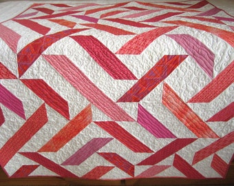 Modern Quilt, Handmade Quilt, Patchwork Quilt, Lap Quilt, Quilted Throw, Homemade Quilt, Home Decor, Pink Coral Quilt,