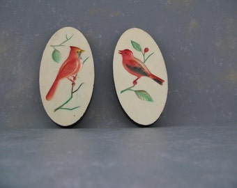 Vintage Plaster birds, cardinal, oriole, plaque, wall hanging