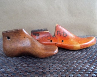 Pair of Vintage Childrens Wooden Shoe Forms