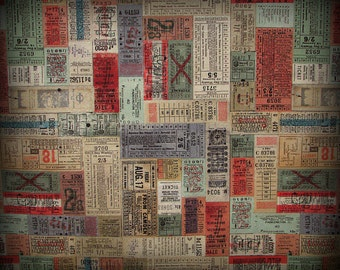 Tim Holtz Tickets, Tim Holtz Fabric,  46 x 44 Inches, Transportation Tickets, PWTH 052, TimHoltz Correspondence, Scrapbook Fabric, Eclectic