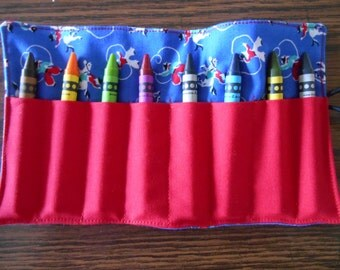 Rodeo blue cowboy cowgirl crayon roll up 8 count