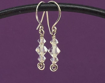 Sparkling Trio Preciosa Czech Crystal and Sterling Silver Earrings