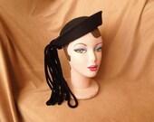 HAT SALE...Vintage 40's Black Hat, Fancy Felt Topper with Velvet Tassel, Mid Century, OSFA