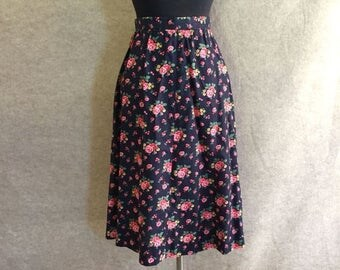 Vintage Floral Skirt, A Line Skirt, Navy Blue Floral, Pink, Green, Yellow Roses, Women's Small, Waist 26