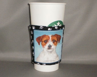 Coffee Cozy - Jack Russell Terrier - Coffee Cuff -  Coffee Sleeve - Reuseable Fabric Cozy - Eco Friendly - Dog - Paw Prints