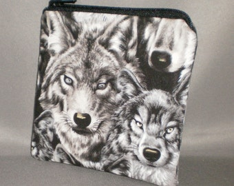 Coin Purse - Gift Card Holder - Card Case -Small Padded Zippered Pouch - Mini Wallet - Wolf - Wolves