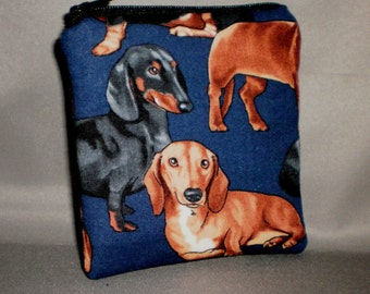 Dachshund Coin Purse - Gift Card Holder - Card Case -Small Padded Zippered Pouch - Mini Wallet - Doxie - Weenie Dog