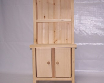 Wooden Hutch for American Girl or other 18 inch doll kitchen