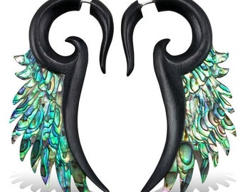 Fake Gauges - Iron Wood and Shell Earrings - Abalone Sun Wings