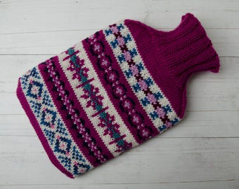 Knitted hot water bottle in fairisle pink, pure merino wool