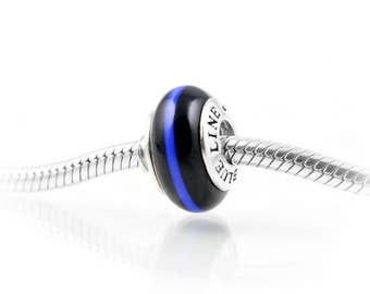 Thin Line® Thin Blue Line POLICE Charm, Exquisite Italian Glass and Sterling Silver