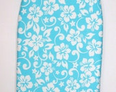 Padded ( all in one ) Tabletop Ironing Board Cover - Economy Price -Aqua Blue and White Hawaiian Floral