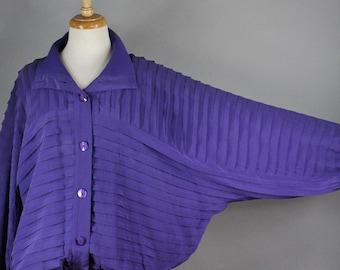 FREE SHIPPING Women's Purple Silk Bomber Jacket, Vintage 80s, Batwing Sleeve, New Wave, Modest, Minimal, Art Clothing, Track Jacket, Large
