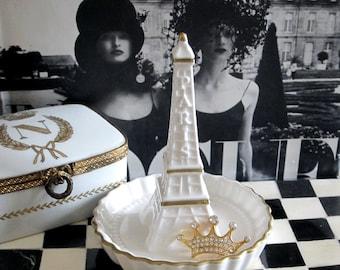 Eiffel Tower Ring Dish Trinket Dish Eiffel Tower Jewelry Dish French Paris Shabby Chic Decor Jewelry Storage Gift For Her Farmhouse Chic