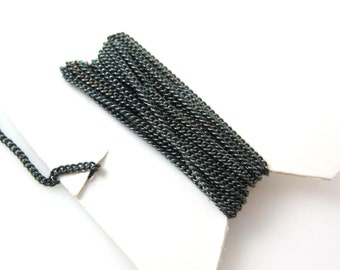 Oxidized Sterling Silver 1mm Tiny Curb Chain,Black chain, Oxidized Fine Curb Chain,Unfinished Bulk Chains for Jewelry Making-Sku: 101001-OX