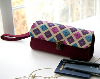 Cell phone wallet clutch - large  wallet, women wallet, purple teal burgundy checkered case organizer iphone 7 plus cards - ready to ship