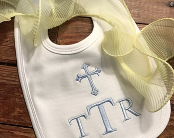 Cross bib / Monogrammed / personalized / bib with cross and name