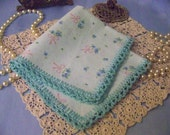 Flannel Handkerchief, Hanky, Hankie, Flankie, Flanky, Soft, Aqua, Floral, Ladies, Blue, Girls, Cold and Flu, Pastel, Ready to ship