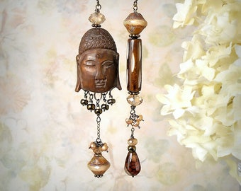 Namaste Buddha Earrings OOAK Agate Gemstone Earrings Carved Brown Wood Earrings Asymmetric Earrings Rustic Tribal Earrings Om Meditation