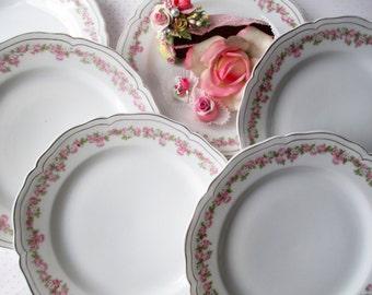 Vintage Salad Plates Vienna Austria Pink Rose Set of Six - Weddings Bridal