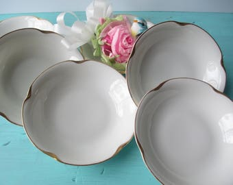 Antique Dessert Bowls Jaeger Bavarian Queen Louise White Gold Set of Six