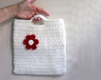 Crochet Handbag and Flower Brooch Set, Tote, Chic Crochet Purse and Pin, Tablet Holder, Case, New, Red, White