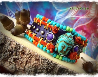 BUDDHA CUFF purple leather BRACELET colorful beaded studded cuff Indie Yoga Bracelet Hippie Turquoise Cowgirl bracelet Meditation GPyoga