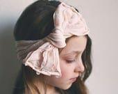 Pale Pink Ruffle Bow Headband