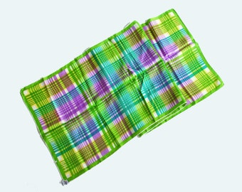 Vintage 60s SILK Plaid Scarf / 1960s Echo Oblong Multicolored Scarf