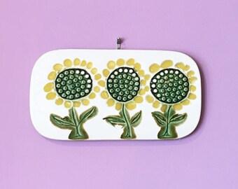 Vintage 60s MOD Sunflower Plaque Trivet Flowers / 1960s Bennington Vermont Pottery Cooperative Design