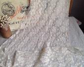 Antique Laces, Vintage Floral Lace Panels / French Cream Lace/ Vintage Wedding Home Decor Dolls & Bears / Edwardian Style