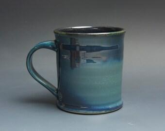 Pottery coffee mug, ceramic mug, stoneware tea cup dark transparent blue 16 oz 3741