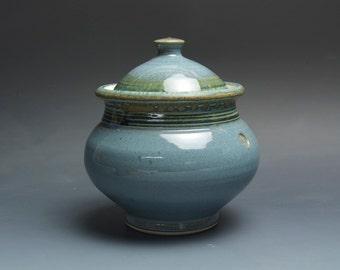 Handmade stoneware sugar bowl storage jar tea caddy blue/green 3075