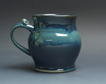 Pottery beer mug, ceramic mug, stoneware stein blue 24 oz 3743